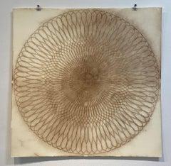 Circle Series 30 One, Mandala Drawing, Spolvero, Sienna, Brown, Abstract, Dots