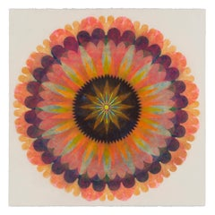 Poptic Three, Flower Mandala in Coral Pink, Orange, Dark Indigo, Violet, Yellow