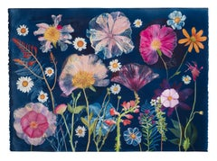 Cyanotype Painting Peonies, Hibiscus, Daisies, Montbretia, Flowers on Blue