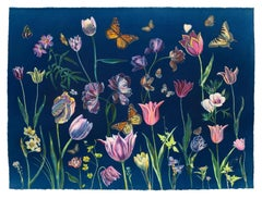 Cyanotype Painting Tulips, Daffodils, Crocus, Pollinators, Flowers, Butterflies