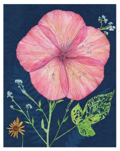 Cyanotype Painting, Pink Hibiscus, Forget Me Nots, Botanical Painting on Blue
