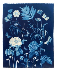 Cyanotype Painting Roses, Snowdrops, Pollinators, Botanical Painting on Blue