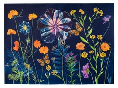 Cyanotype Painting Poppies, Cosmos, Hibiscus, Monarchs, Ferns, Botanical on Blue