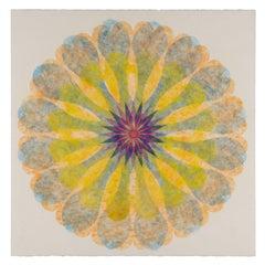 Poptic 16, Flower Mandala in Light Orange, Blue, Golden Yellow, Red, Cobalt