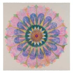 Poptic 13, Flower Mandala in Light Pink, Blue, Golden Yellow, Red, Green