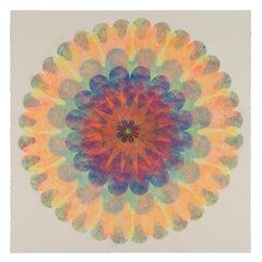 Poptic 19, Flower Mandala in Light Yellow, Pink, Orange, Navy, Red