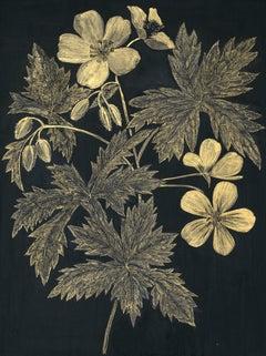Wild Geranium, Botanical Painting on Black Panel with Gold Flowers, Leaves, Stem
