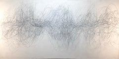 Nomad, Large Horizontal Abstract Graphite Drawing of Undulating Lines on White