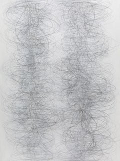 Gamut, Vertical Abstract Geometric Drawing of Undulating Lines in Gray and White