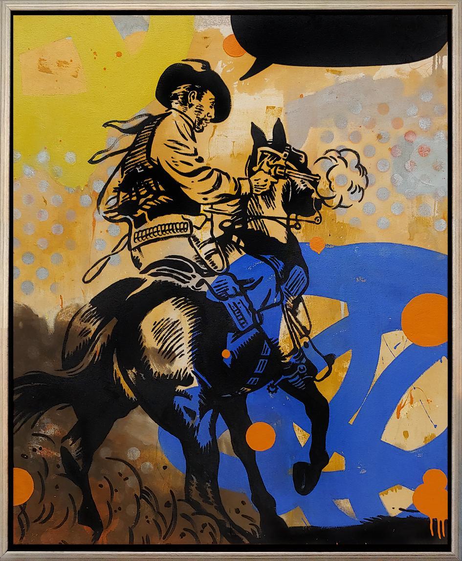"""Midnight Showdown on the Hogbacks"" oil, spray paint & enamel on canvas 46x38"""