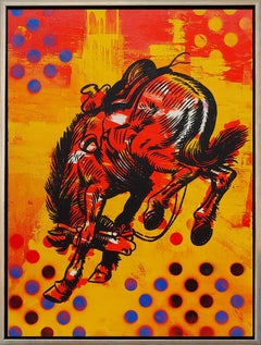 """Amarillo Red"" Cowboy Pop Art  Oil, Enamel and Spray Paint on canvas"