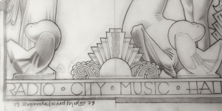 Radio City 1973 Art Deco Exposition, original Pencil drawing on Vellum For Sale 1