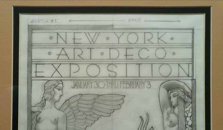 Radio City 1973 Art Deco Exposition, original Pencil drawing on Vellum For Sale 4