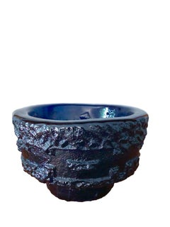 Textured Scandinavian mid-century cobalt glass bowl for Ruda Glasbruk