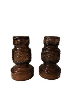 Textured Scandinavian mid-century brown glass candlesticks for Ruda Glasbruk
