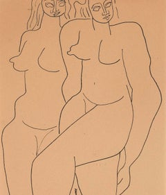 "Louise Nevelson ""Two Figures"" Drawing"