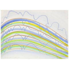 """KM Graham """"Dorset Lines in Blue"""" Drawing"""