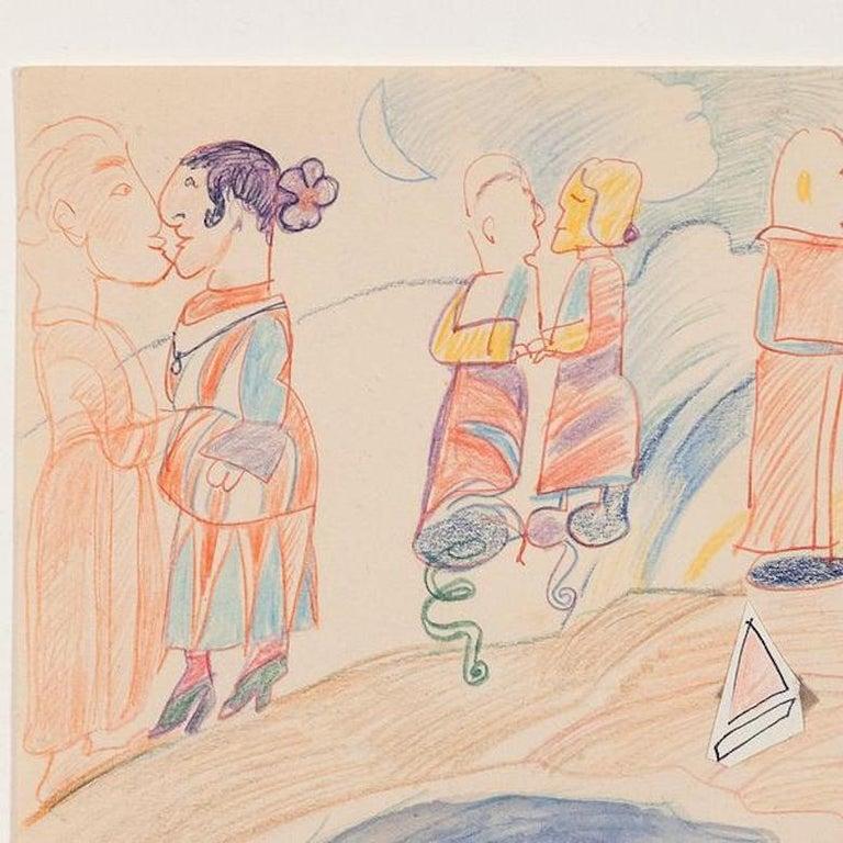 Pastel Couples - Beige Figurative Art by Joyce Wieland