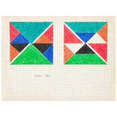 """Larry Zox """"Teal Top"""" Drawing, 1966"""