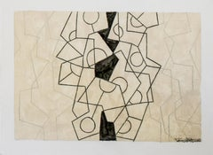 Untitled 68 (Small Mid Century Inspired Graphic Abstract Drawing, Black & White)