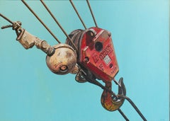Johnson Blocks (American Photorealist Painting of Red Industrial Crane on Blue)