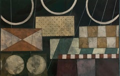 Random Elements (Geometric Earth Tone Oil Painting in Constructivst Style)
