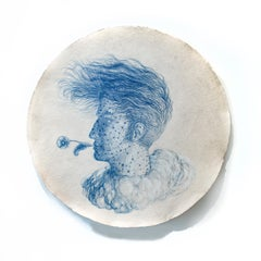 Poet's Augury (Round Portrait Drawing in Blue Pastel by Kahn & Selesnick)