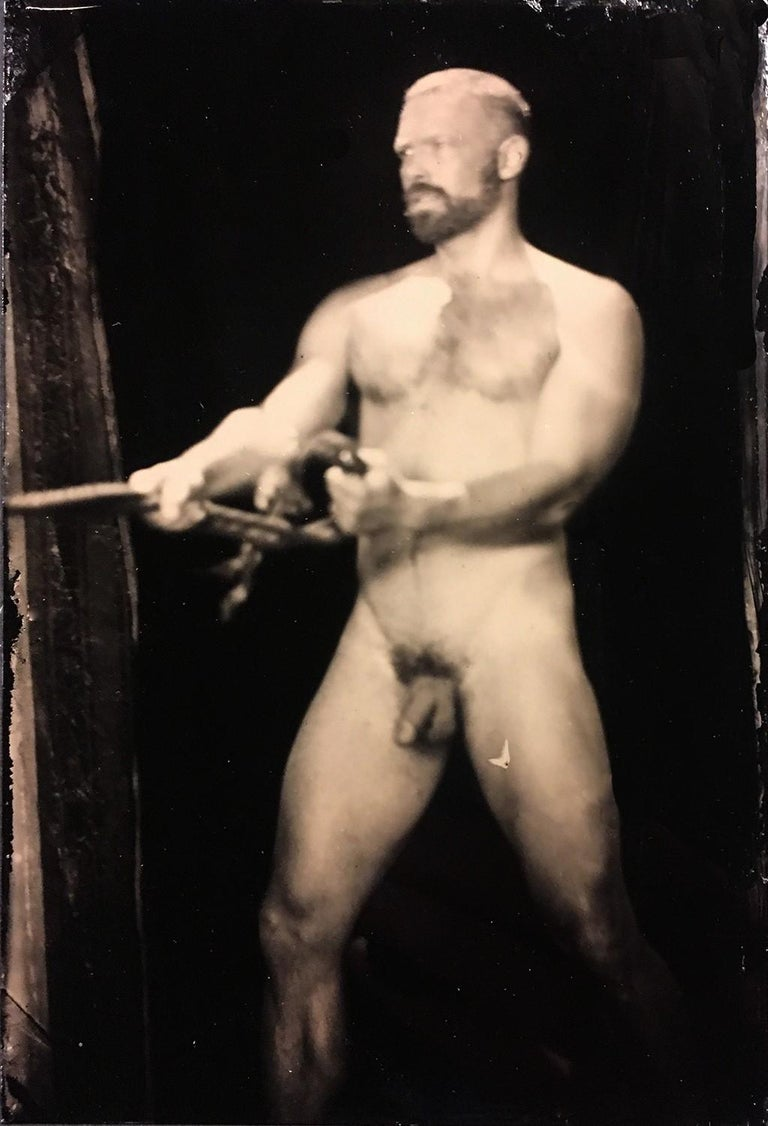David Sokosh Figurative Photograph - Nathan With Rope (Figurative Tin Type Photograph of Male Nude in Vintage Frame)