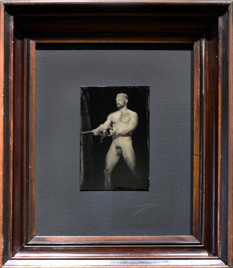Nathan With Rope (Figurative Tin Type Photograph of Male Nude in Vintage Frame) - Black Figurative Photograph by David Sokosh