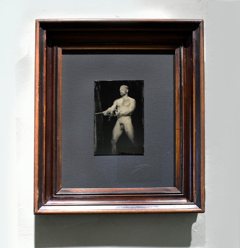 Vintage figurative photograph of a nude male pulling a rope Wet plate collodion on aluminum, unique 6 x 4 inches unframed, 15.25 x 13 inches in vintage walnut frame with AR non-glare glass Wire backing, ready to hang Signed, front (lower