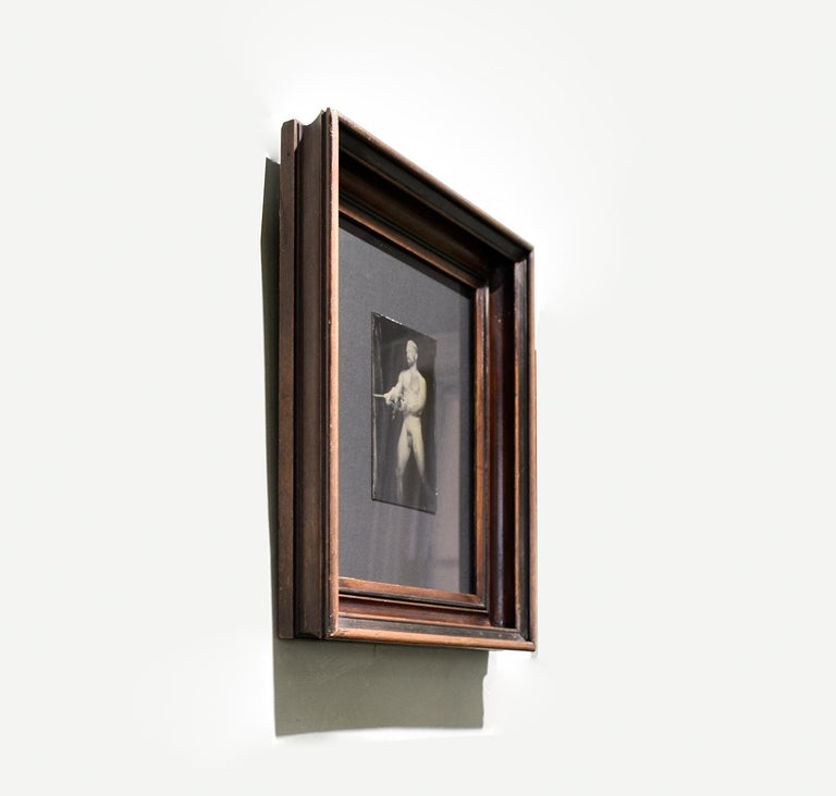 Nathan With Rope (Figurative Tin Type Photograph of Male Nude in Vintage Frame) For Sale 1