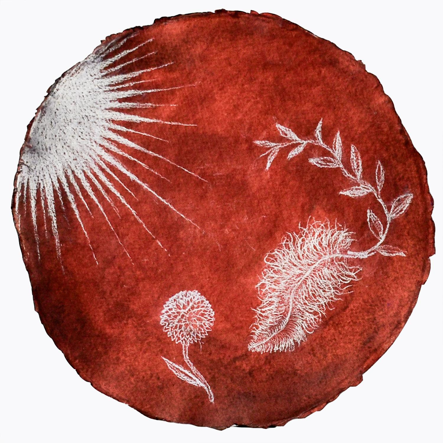Feather Augury (Crimson Pastel Drawings on Handmade Paper by Kahn & Selesnick)
