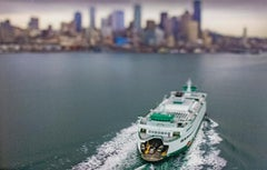 Double Bay Ferry (Tilt Shift Landscape Photograph of Ferry with City Skyline)