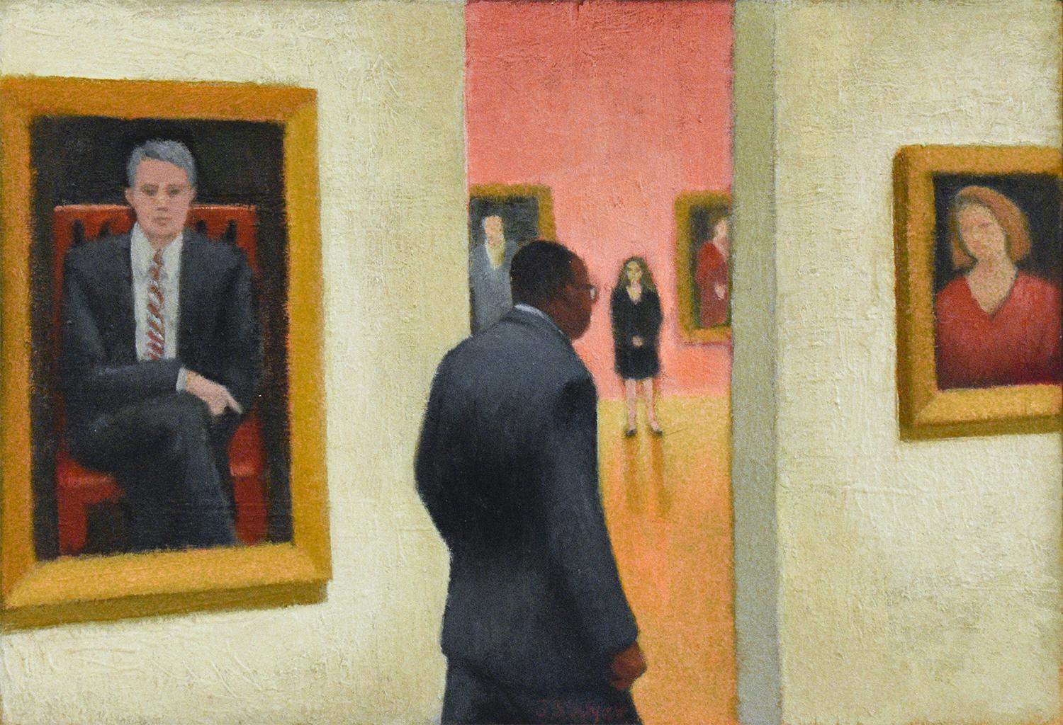 Connoisseurs (Figurative Painting of a Museum Guard with Portrait Paintings)