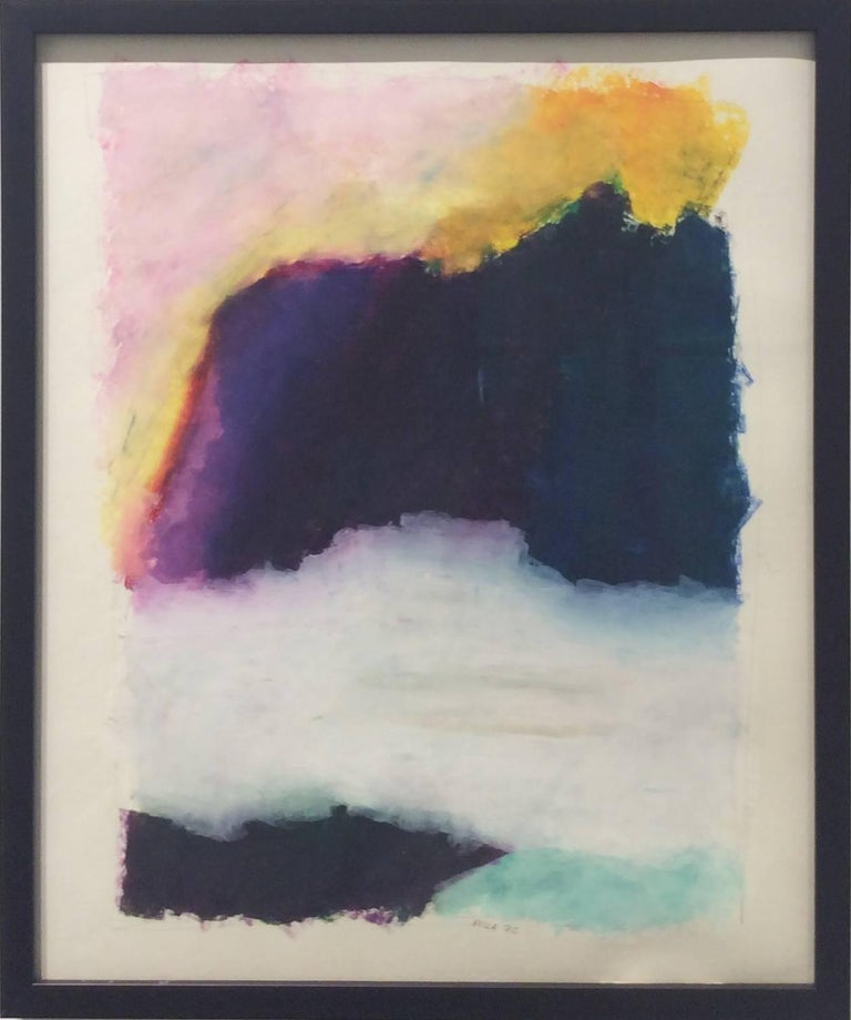 """Pastel on paper Paper size is 17 x 14 inches, 18 X 14.5 x 1 inches framed Custom black wood frame  Vince Vella's landscapes are the work of a spontaneous painter obsessed with his mantra of """"Rock, Sea, and Sky"""". This contemporary pastel work on"""