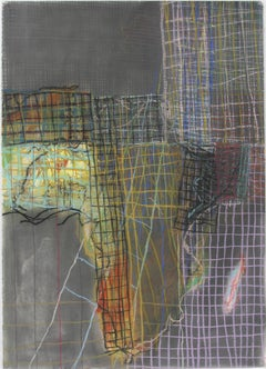 Geography #4 (Abstract Grid Pastel Drawing of Africa in Light Wood Frame)