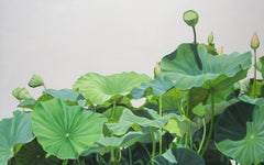 Lotus No. 1 (Contemporary Hard Edge Realist Still Life of Bright Botanicals)