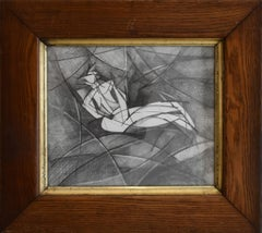Olympia XI (Abstract Cubist Style, Modern Graphite Drawing with Vintage Frame)