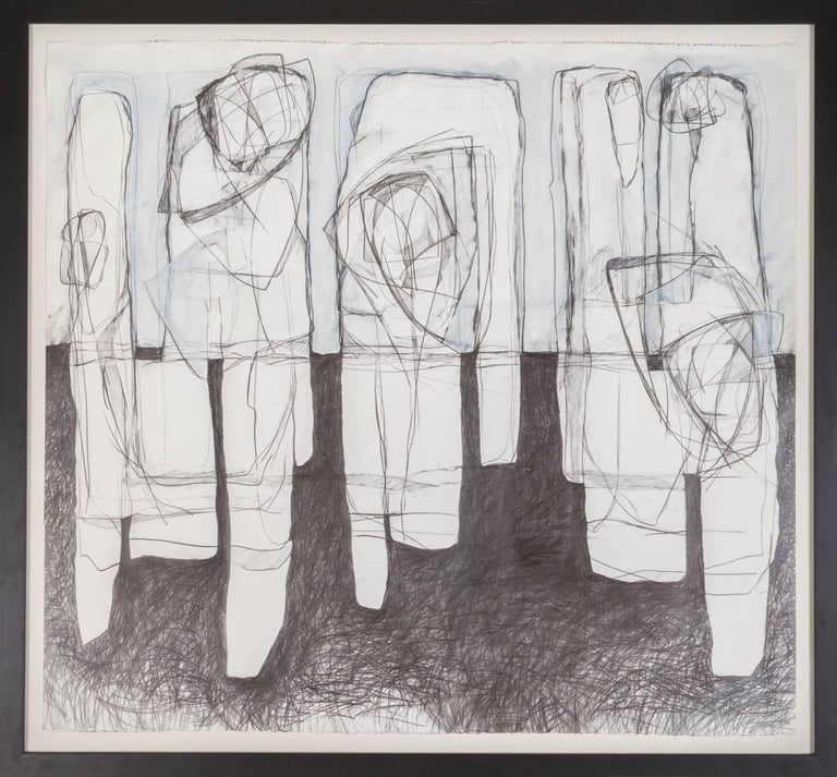 Three Figures Black White Abstract Graphite Drawing In Contemporary Frame