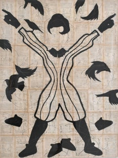 Vitruvian Woman (Figurative Chalk Drawing of a Female Silhouette & Black Birds)