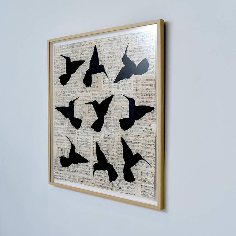 Circular Songs (Chalk Drawing of Black Hummingbirds on Vintage Sheet Music)