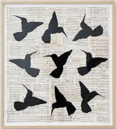 Circular Songs (Figurative Chalk Drawing of Black Birds on Vintage Music Sheets)