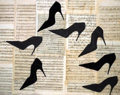 Shall We Dance (Figurative Chalk Drawing of Black Heels on Vintage Music Sheets)