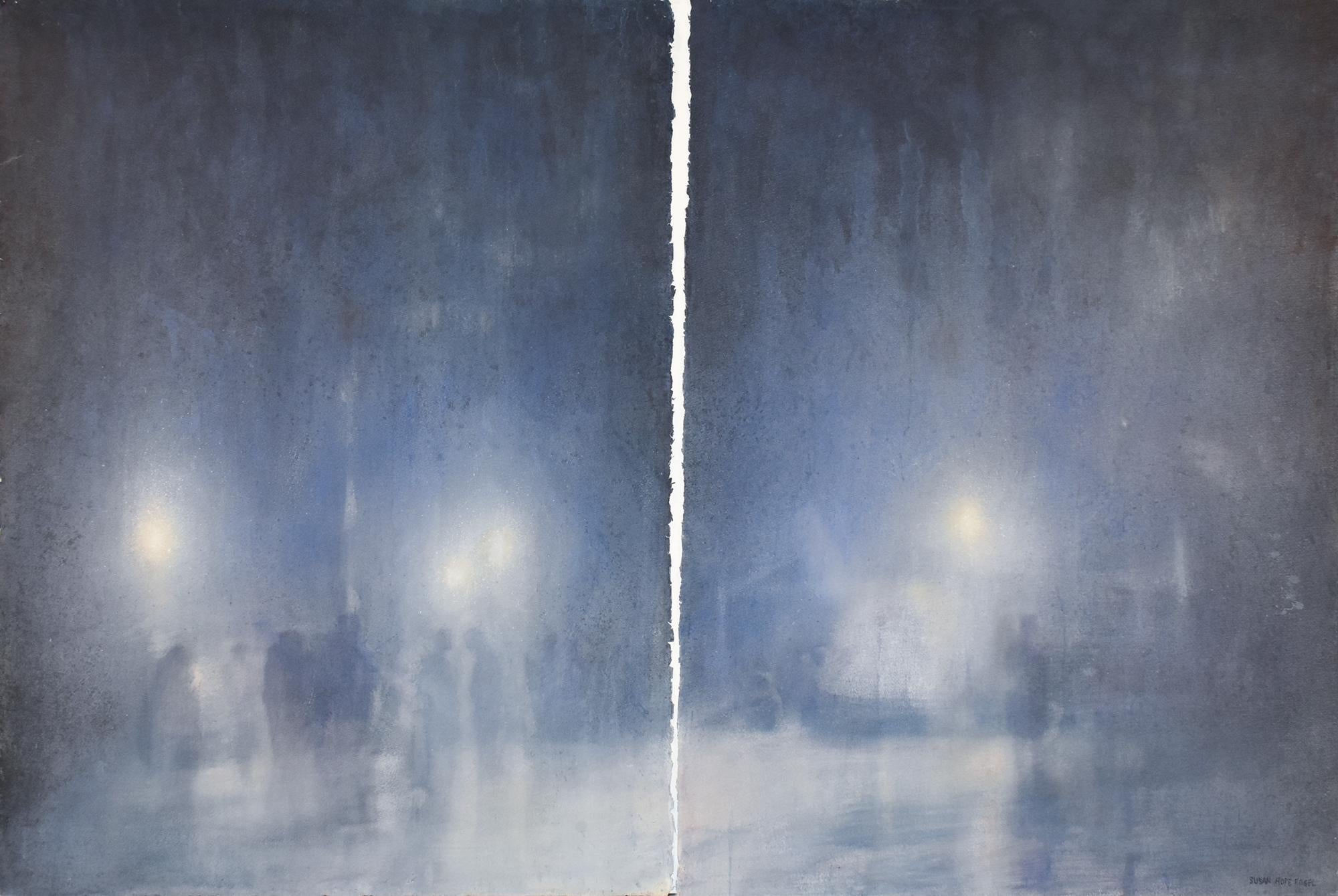 The Veil (Abstracted Cityscape Watercolor Painting of NYC Street)