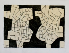Untitled 67 (Small Black and White Cream Abstract Graphite Drawing)