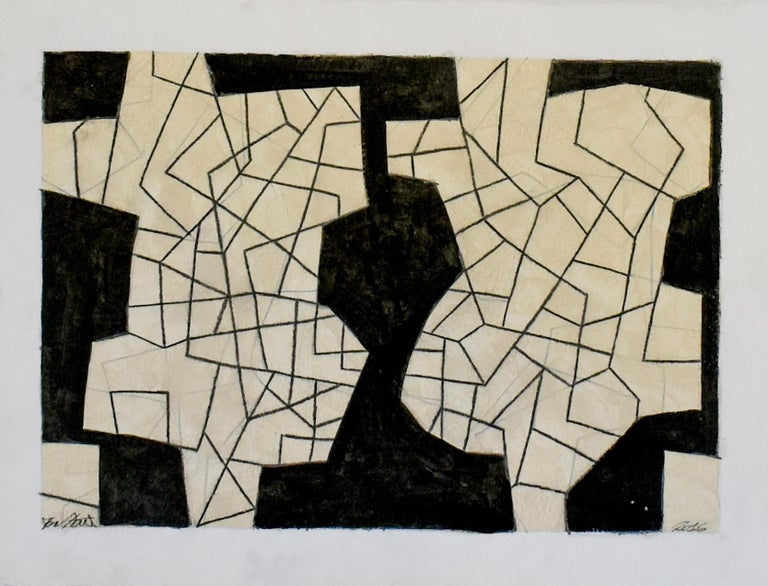 Ralph Stout Abstract Drawing - Untitled 67 (Small Black and White Cream Abstract Graphite Drawing)
