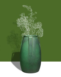 Green Leaf (Abstracted Flower Still Life Photograph of Antique Vase on Green)