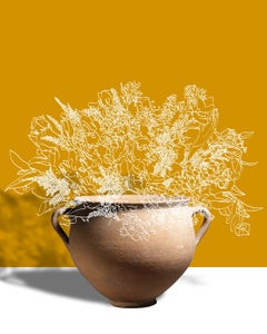 Gamboge (Abstracted Flower Still Life Photograph of Antique Vase on Yellow)