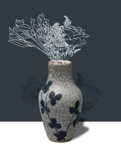 Mirage (Abstract Flower Still Life Photograph of Antique Vase on Grey-Blue)