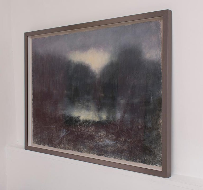 Forest Light, 2016 (Contemporary Impressionist Landscape in Watercolor ) by Susan Hope Fogel Abstracted landscape watercolor drawing on Arches paper, signed bottom right. 31 x 41 inches, 42.5 x 56 x 2.5 inches framed Arches paper is floated in a